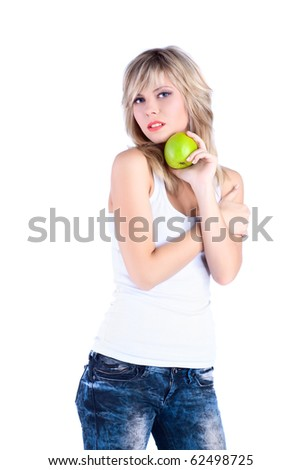 young girl over white background with apple