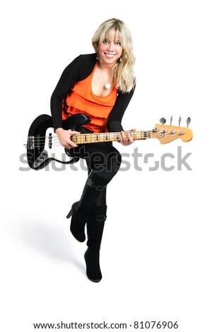 young girl plays guitar - stock photo