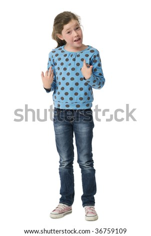 Young girl pointing questioningly at herself on white background
