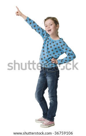 Young girl pointing upwards on white background - stock photo