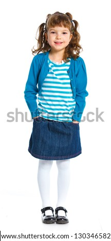 Young girl poses for a picture. Isolated on white background