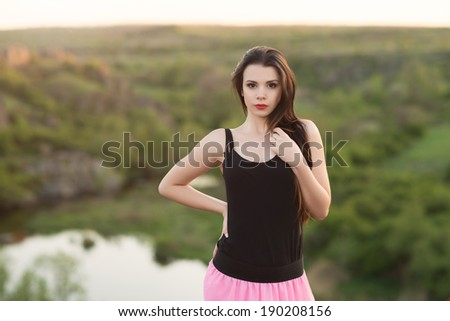 Young girl posing in nature