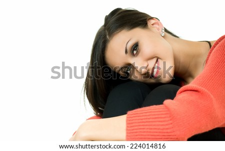 young girl posing with a beautiful smile/beautiful smile - stock photo