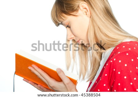 young girl reading book isolated on white background with copy space - stock photo