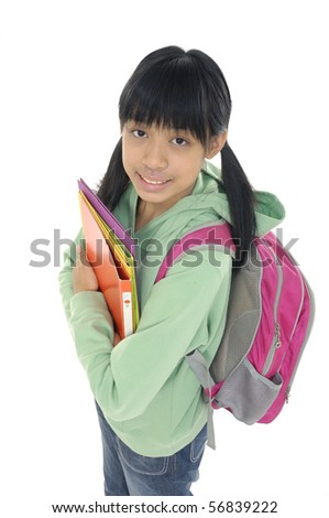 young girl ready for school - stock photo