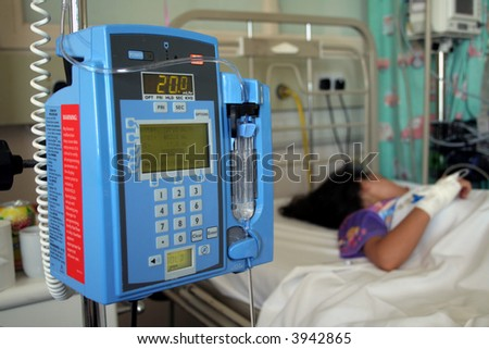 Young girl resting in a hospital icu - stock photo
