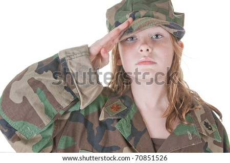 young girl saluting in uniform too big for her - stock photo