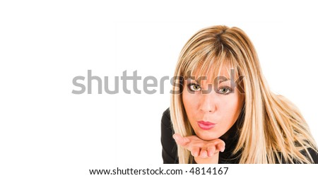 young girl sending a kiss - stock photo