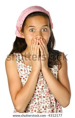 Young girl shocked, wide eyed, both hands covering her mouth in gesture of horror and disbelief, isolated. - stock photo