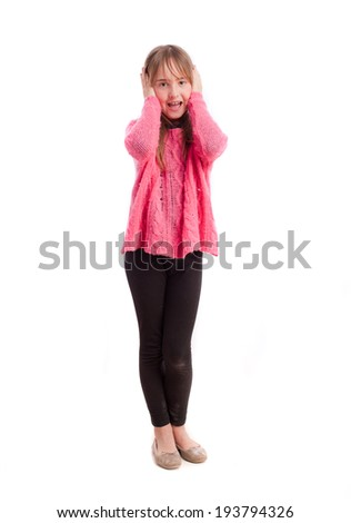 Young girl shout gesture - stock photo