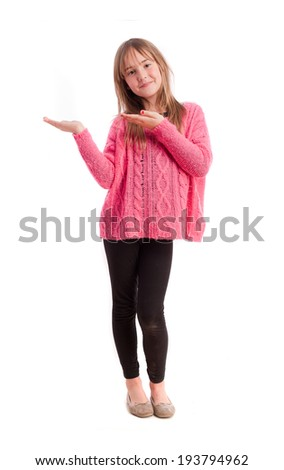 Young girl show gesture - stock photo