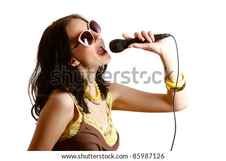 Young girl singing song isolated