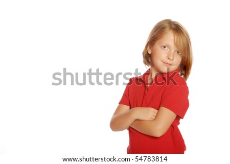 Young girl standing on an isolated background - stock photo