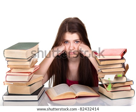 Young girl studying with book isolated - stock photo