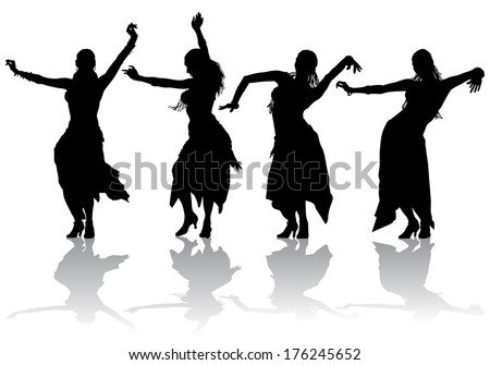 young girl takes the oriental dance on stage  - stock photo
