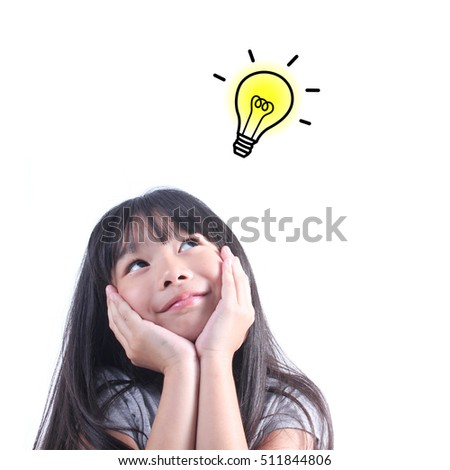 Young girl thinking. Back to school concept.Idea and creativity concept. Copy space for your text