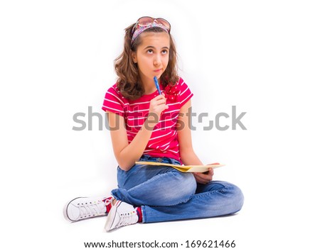 Young girl thinks about her future career - stock photo