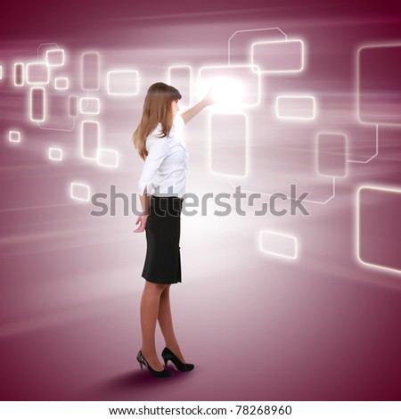 young girl touching a virtual surface. Illustration - stock photo