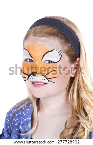 Young girl wearing fox carnival face paint isolated on white