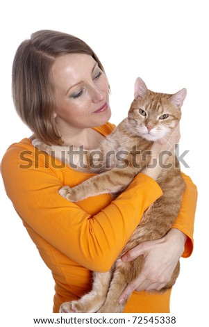 Young girl with a ginger cat on white background