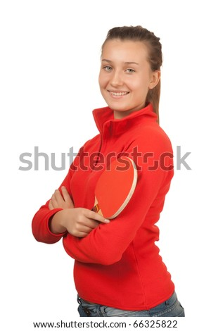 young girl with a racket ping-pong isolated on white - stock photo