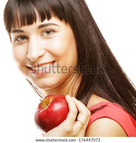 young girl with a red apple in hand