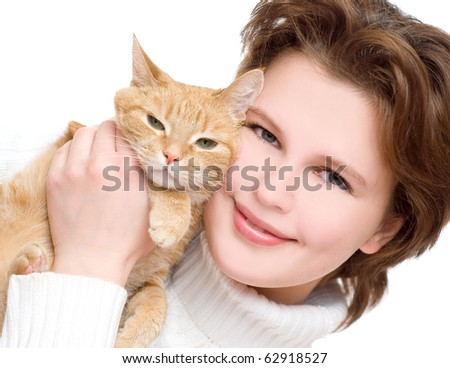 Young girl with a red cat - stock photo
