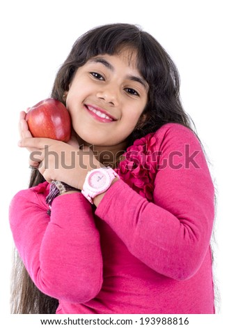 Young Girl With Apple Isolated on White Background - stock photo