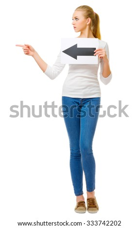 Young girl with arrow left placard isolated - stock photo