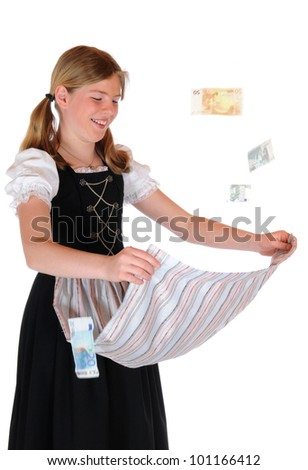 Young girl with bavarian dirndl and lifted apron - stock photo