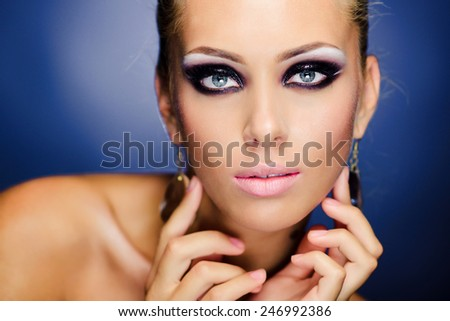 young girl with beautiful makeup - stock photo