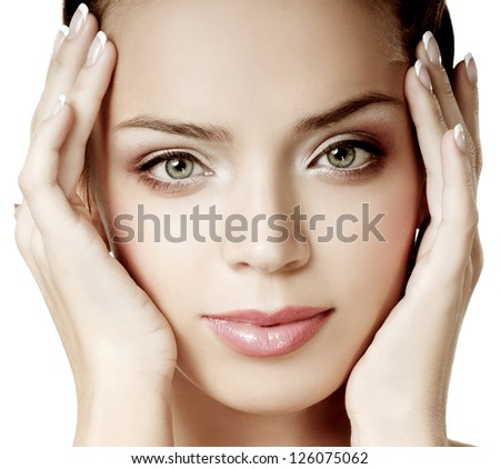 young girl with beautiful makeup. perfect skin. - stock photo