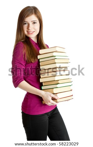 Young girl with books. Isolated on white background - stock photo