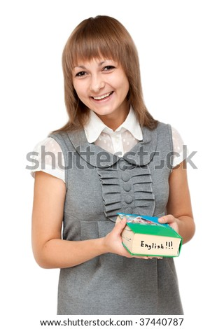 Young girl with dictionary english on white background - stock photo