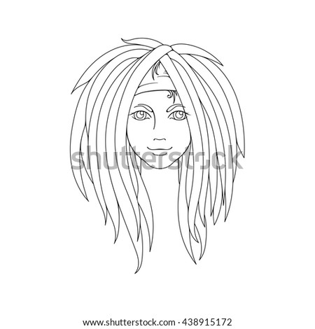 Young Girl Dreadlocks Freak Hairstyle Picture Stock Illustration ...