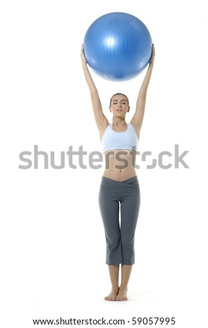 young girl with fit ball