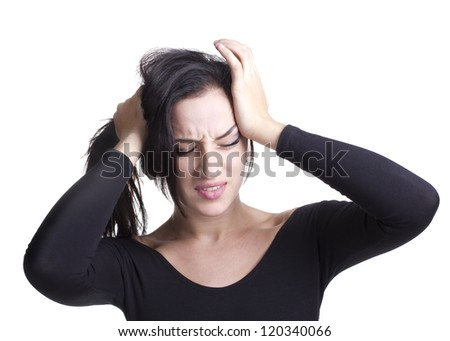 young girl with headache experiencing negative emotions - stock photo