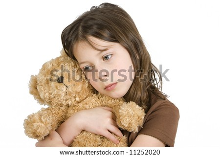 Young Girl with her Teddybear 2 - stock photo