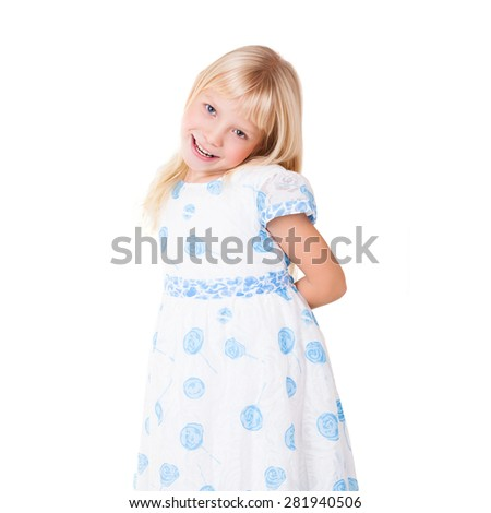 young girl with innocent gesture on isolated background - stock photo