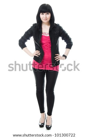 young girl with long hair, black leather jacket on a white background. - stock photo