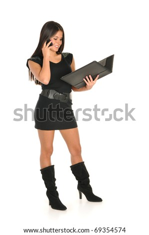 Young girl with note book - stock photo