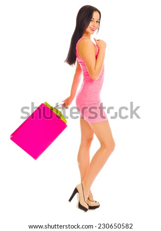 Young girl with paper bag isolated - stock photo