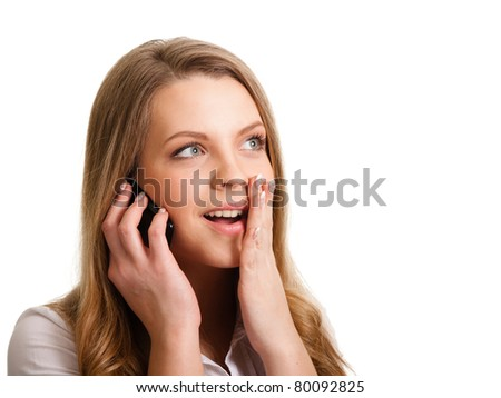 Young girl with phone isolated on white - stock photo