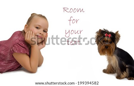 Young girl with puppy, cute Yorkshire terrier - best friends - stock photo