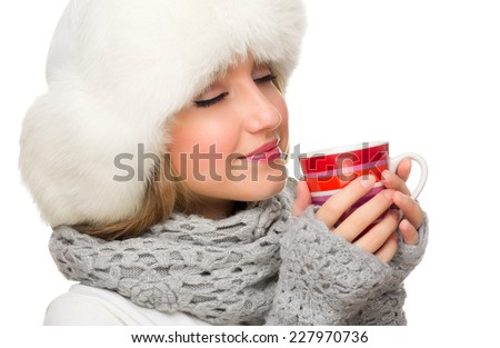 Young girl with red mug isolated - stock photo