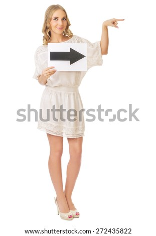 Young girl with right arrow banner isolated - stock photo