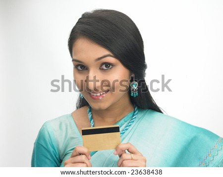 Young girl with the  credit-card - stock photo