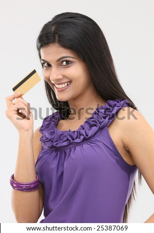 young girl with the credit card - stock photo