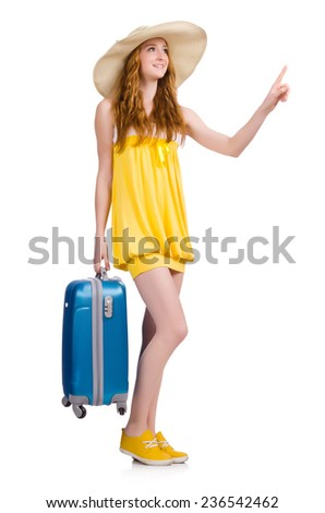 Young girl with travel case pressing virtual button isolated on white