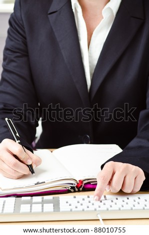 young girl worked on an office - stock photo